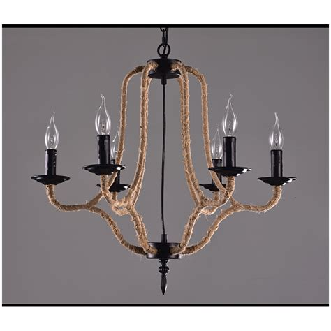 country style chandeliers america style industry country chandelier hemp rope l 6