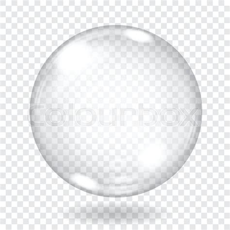 spherical glass big transparent glass sphere with glares and shadow