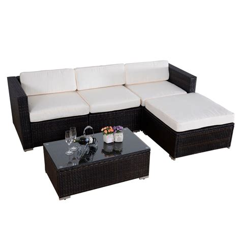 rattan wicker patio furniture convenience boutique outdoor 5 pc patio pe wicker rattan
