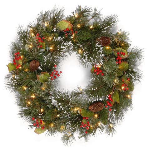 electric wreaths national tree company 24 in wintry pine artificial wreath