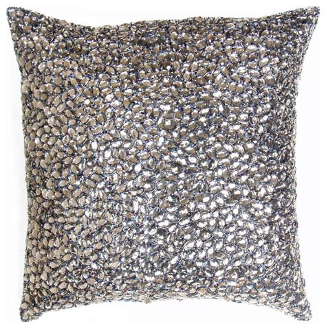 beaded decorative pillows grey jeweled beaded pillow 10x10 modern