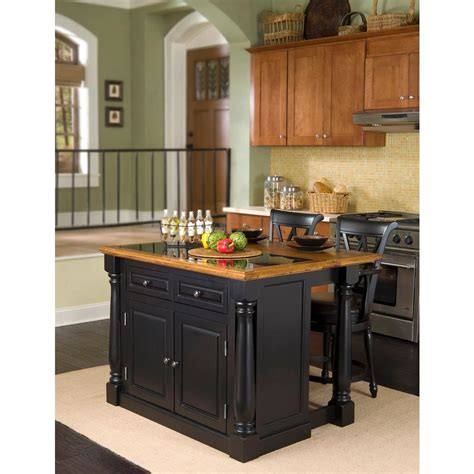 black kitchen island with stools home styles monarch black kitchen island with seating 5009 948 the home depot