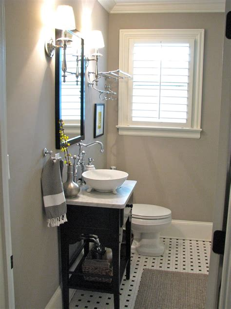 guest bathroom ideas pictures small gray guest bathroom ideas with black wooden console sink added vintage bright wall l