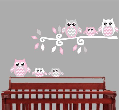 wall nursery decals pink owl wall decals owl stickers owl nursery wall decor