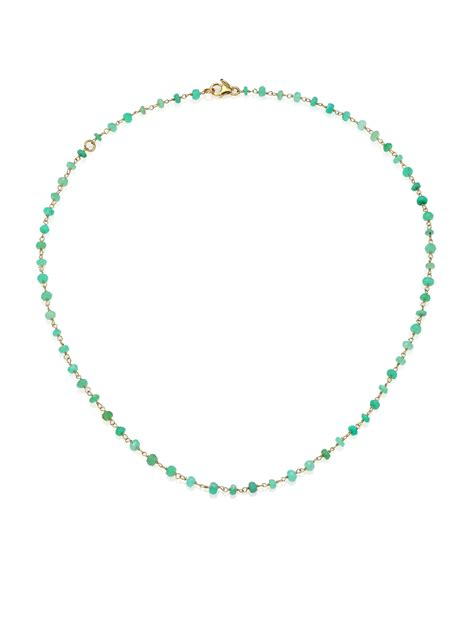 beaded chain necklace mija chrysoprase beaded chain necklace in green lyst