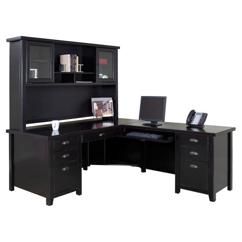 black l shaped computer desk kathy ireland home by martin tribeca loft executive l shaped desk with optional hutch black