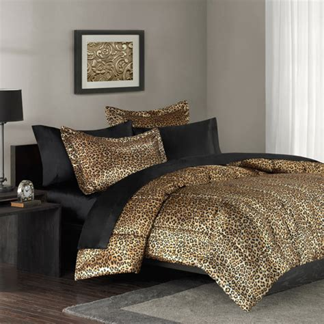 cheetah bed set mainstays leopard print bedding comforter mini set