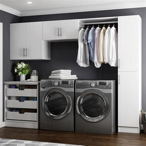 storage cabinets for laundry room modifi horizon 105 in w white laundry cabinet kit enl105