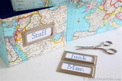 decoupage shoebox map covered shelf organizing using shoeboxes decoupage
