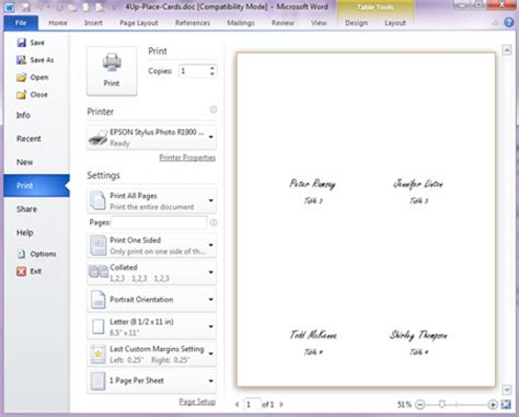 how to make place cards on microsoft word how to print place cards lci paper co