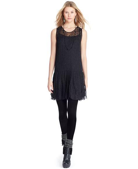 beaded drop waist dress polo ralph silk beaded drop waist dress in black lyst
