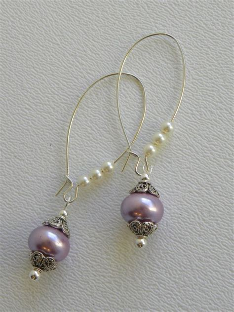 handmade beaded earrings lavender rondell pearl handmade beaded earrings silver