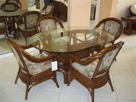 Dining Room Sets Bahama Oval Glass Top Dining Table With Rattan Chairs