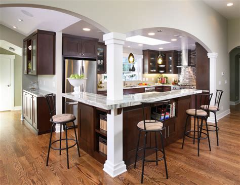 kitchen island with columns contemporary kitchen
