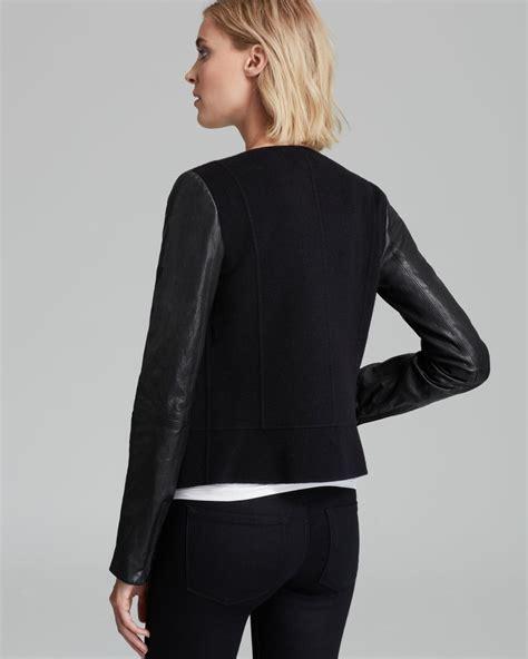 leather sleeve blazer vince jacket leather sleeve in black lyst