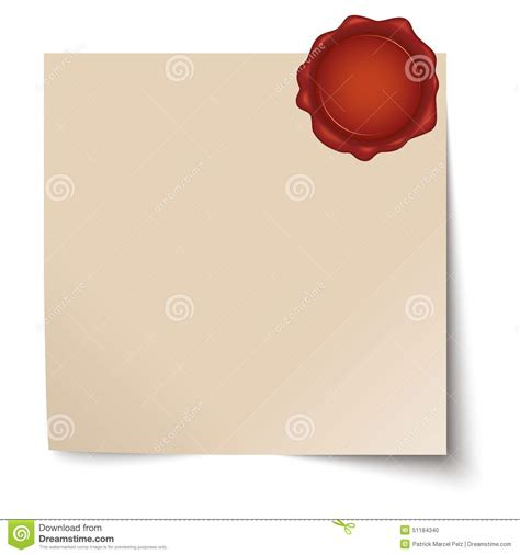 sealing paper empty paper with wax seal stock vector image 51184340
