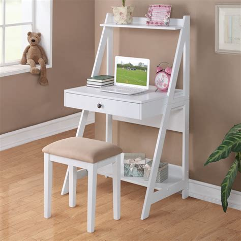 student desk with shelves 2 pc white student small writing desk and stool w large