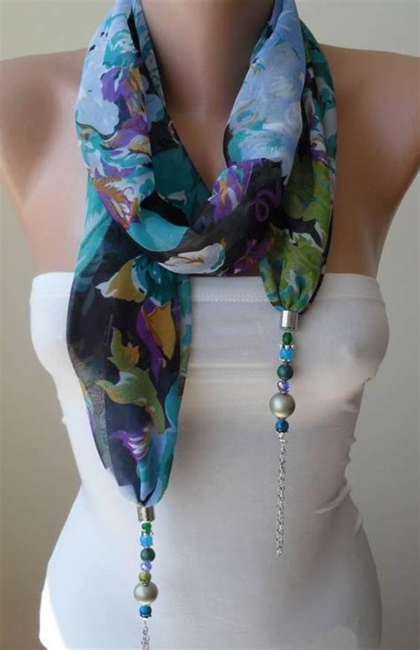 how to make scarf jewelry scarf necklace more flowers