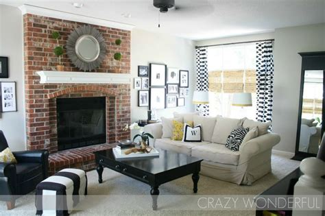 paint colors for living room with brick fireplace greige paint whites and real brick fireplace