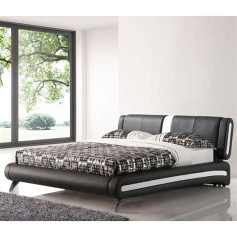 black and chrome bedroom furniture malmo king size bed in black faux leather with chrome legs