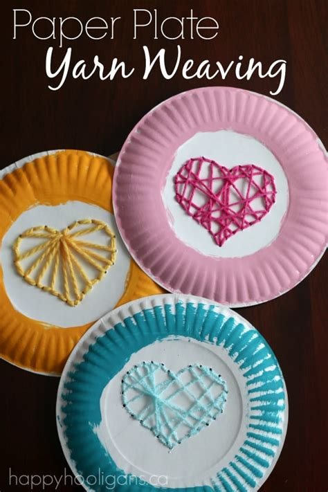 crafts with paper plates paper plate yarn weaving sewing hearts happy hooligans
