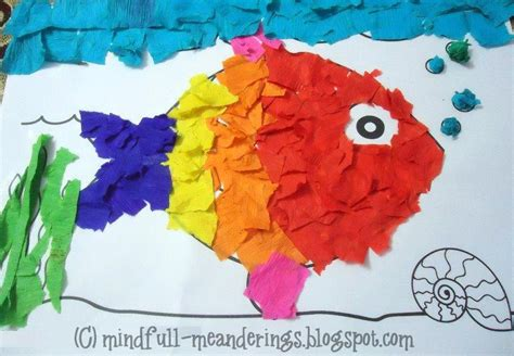 collage crafts for crepe paper collage rainbow fish craft artsy craftsy