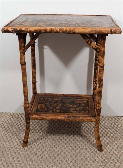 decoupage wood table small bamboo table with decoupage shells at 1stdibs