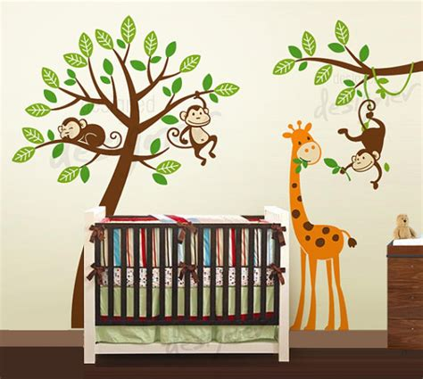 nursery monkey wall decals jungle tree with monkeys and giraffe wall decal wall