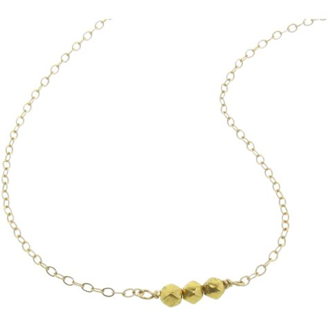 gold bead necklace tiny gold bead necklace 18k solid gold 3mm faceted