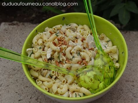 salade de p 194 tes au poulet et basilic dudu au fourneau