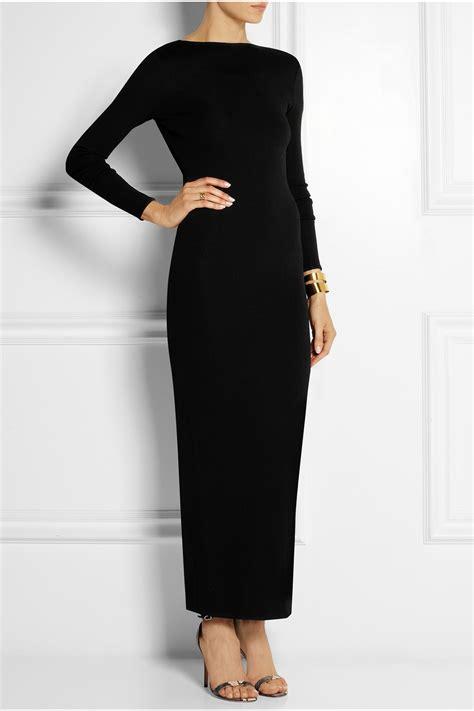 knit maxi dress balmain open back stretch knit maxi dress in black lyst