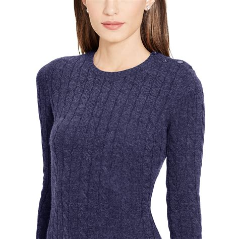 knitted sweater dress ralph cable knit sweater dress in blue navy lyst