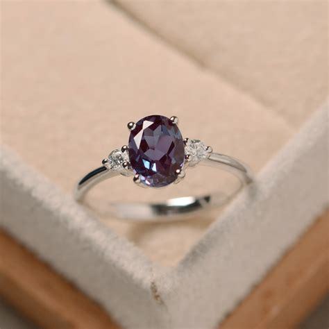 metal rings for jewelry oval alexandrite ring silver alexandrite jewelry gemstone