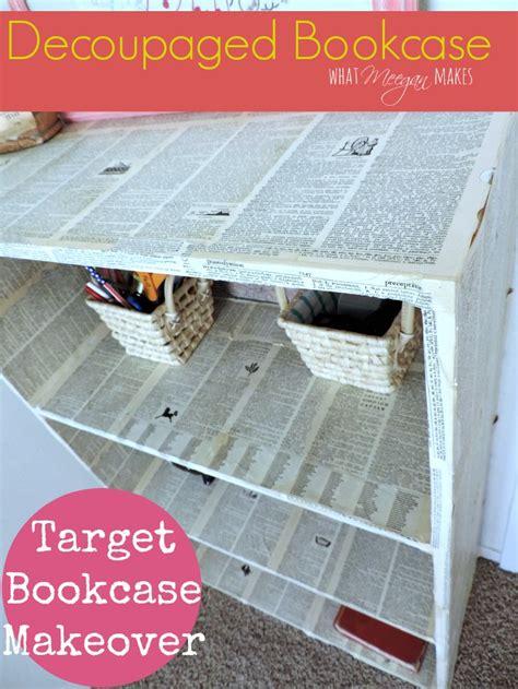 decoupage laminate furniture decoupaged target bookcase what meegan makes