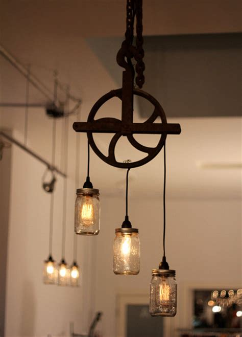 rustic kitchen pendant lights beautiful well pulley l with jars rustic