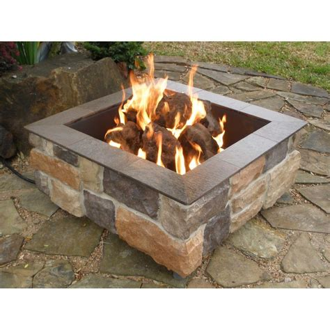 firepits gas firescapes smooth ledge square gas pit
