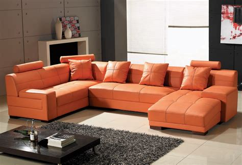 orange leather sectional sofa orange leather furniture homesfeed