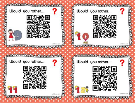 32 would you rather questions with task cards and qr codes
