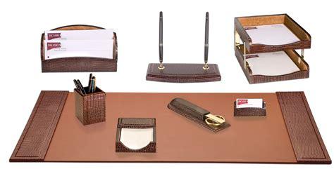 leather desk set d2020 brown crocodile embossed leather 10 desk set