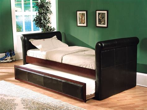 leather bed with trundle size downtown espresso leather sleigh bed trundle