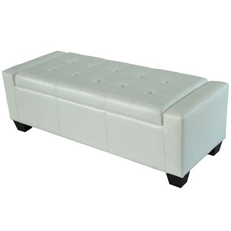 white leather storage ottoman bench homcom modern faux leather ottoman footrest sofa shoe