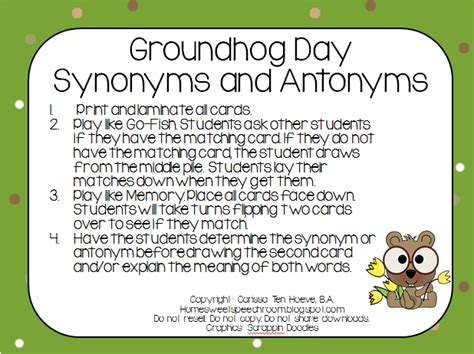 groundhog day meaning in groundhog day synonym and antonym cards