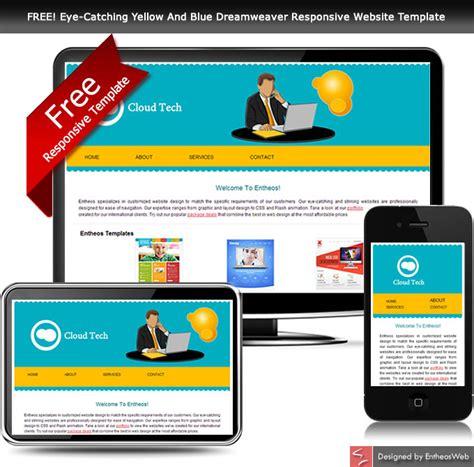 free site free eye catching yellow and blue dreamweaver responsive