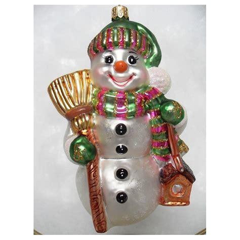 green baubles decorations snowman green xl glass handmade bauble