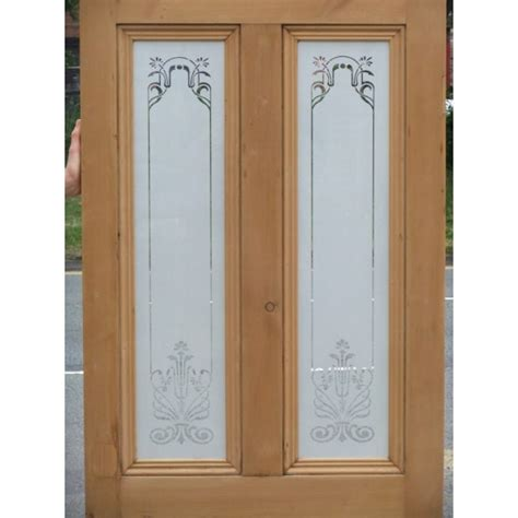 etched glass doors ed001 etched glass door with nouveau glass design