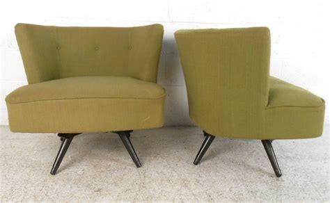 swivel slipper chair pair of mid century modern swivel slipper chairs at 1stdibs