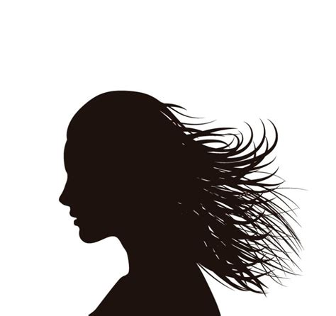 long hair woman side face silhouette vector free vector
