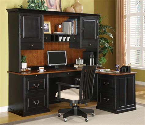 black office desk with hutch bush office furniture for reliable office supplies