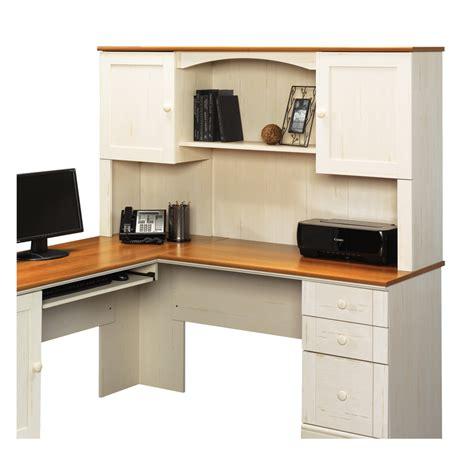 white desk l shaped shop sauder harbor view antiqued white l shaped desk at