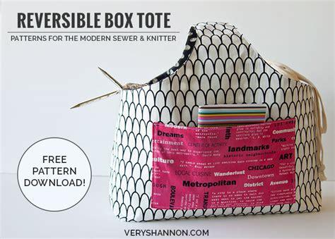 free knitting bag patterns to sew sewing free reversible box tote pattern shannon